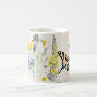 Vintage Swallowtail Butterfly Mullein Flower Mug