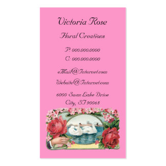 Vintage Swan and Roses Business Card Template