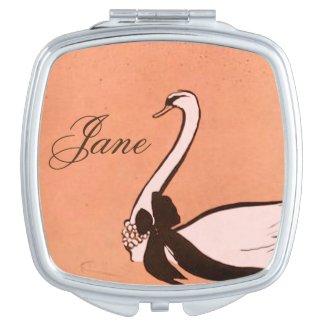Vintage Swan Compact Mirror