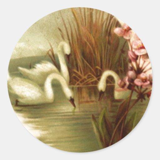Vintage Swans Envelope Seal Sticker