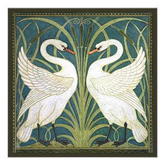 Vintage Swans Square Wedding Invitation