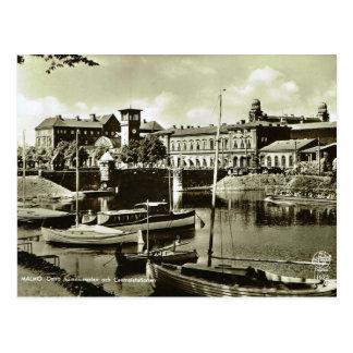 Vintage Sweden, Malmo harbour Postcard