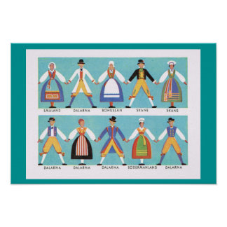Vintage Sweden,  Traditional regional costumes 2 Poster
