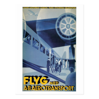 Vintage Swedish Airlines ABA Travel Ad Post Card