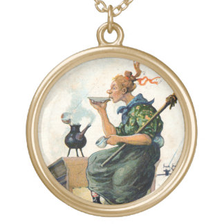 Vintage Swedish Easter painting charm Gold Plated Necklace