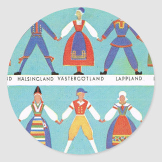 Vintage Swedish regional costumes Classic Round Sticker