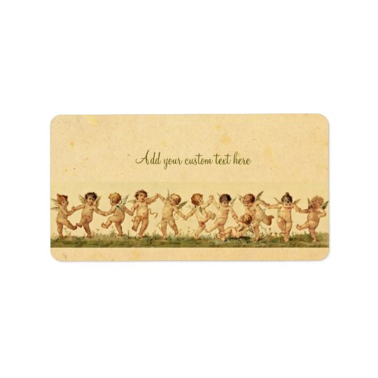 Vintage Sweet Happily Dancing Cherubs Custom Label Address Label