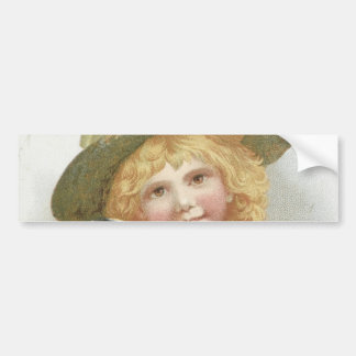Vintage Sweet Little Girl holding Cute Little Dog Bumper Sticker