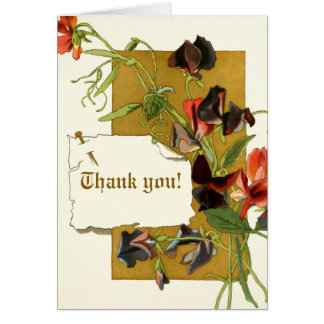 Vintage sweet pea flowers wedding Thank You Note Card