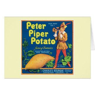 Vintage Sweet Potato Food Product Label Greeting Card