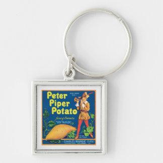 Vintage Sweet Potato Food Product Label Keychain