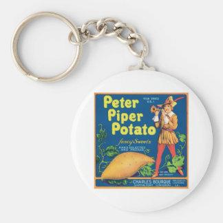 Vintage Sweet Potato Food Product Label Basic Round Button Key Ring