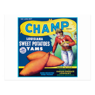 Vintage Sweet Potatoes Food Product Label Post Card