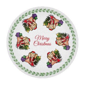 Vintage Sweet Santa Merry Christmas Elephants Cutting Board