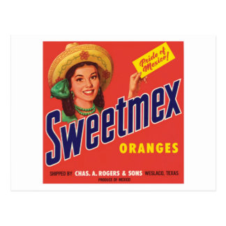 Vintage Sweetmex Orange Label Postcard