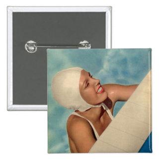 Vintage Swimmer 1950s bathing cap magazine cover 15 Cm Square Badge