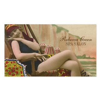 vintage swimsuit pin up girl beauty salon tanning pack of standard business cards