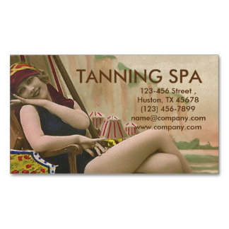 vintage swimsuit pin up girl SPA tanning salon Magnetic Business Cards