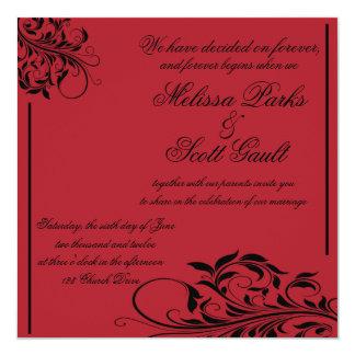 Vintage Swirl Black and Red Wedding Invitation