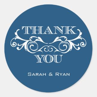Vintage Swirl Blue Wedding Favor Stickers