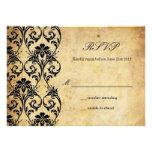 Vintage Swirl Damask Wedding RSVP Personalised Invite