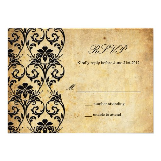 Vintage Swirl Damask Wedding RSVP Personalized Announcement