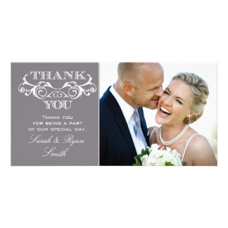 Vintage Swirl Grey Wedding Photo Thank You Cards Customised Photo Card