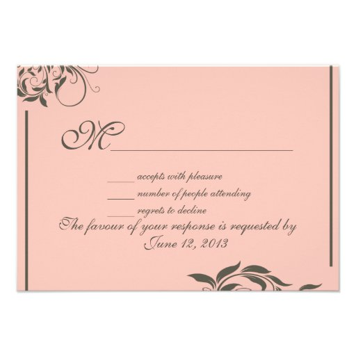 Vintage swirl pattern wedding RSVP Personalized Announcements