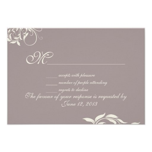 Vintage swirl pattern wedding RSVP Invitations