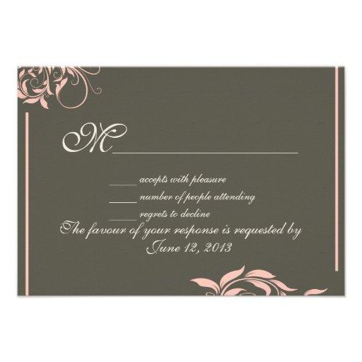 Vintage swirl pattern wedding RSVP Announcement