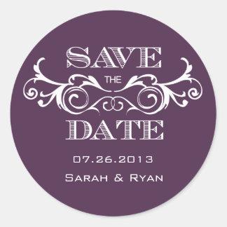 Vintage Swirl Purple Save the Date Sticker