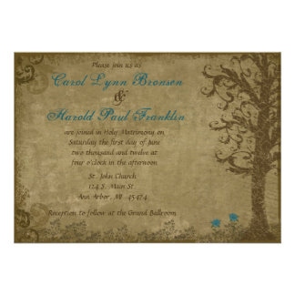 Vintage Swirl Tree with Writing Blue and Brown Wed Custom Invites