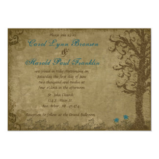Vintage Swirl Tree with Writing Blue and Brown Wed 5x7 Paper Invitation Card