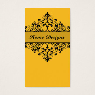 Vintage Swirl Yellow & Black Business Card