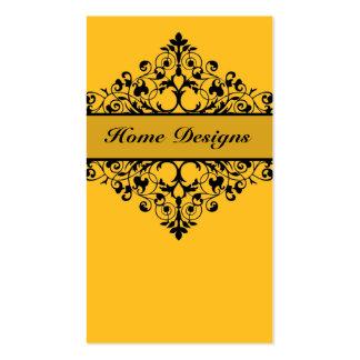 Vintage Swirl Yellow & Black Business Card