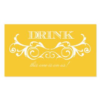 Vintage Swirl Yellow Wedding Drink Ticket Business Card