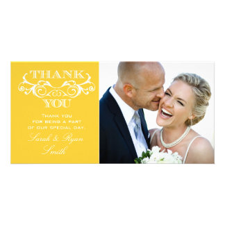 Vintage Swirl Yellow Wedding Photo Thank You Cards Picture Card