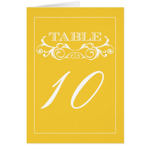 Vintage Swirl Yellow Wedding Table Number Cards