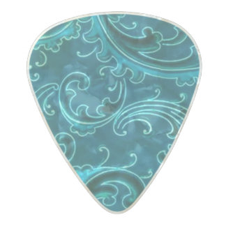 Vintage Swirls Curlicue Teal Turquoise Peacock Pearl Celluloid Guitar Pick