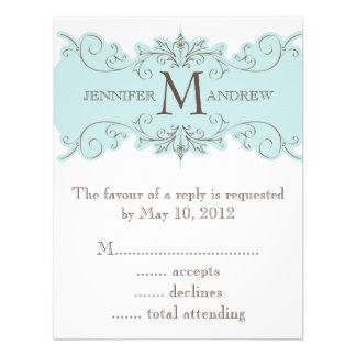 Vintage Swirls Monogram Wedding Invite RSVP Cards