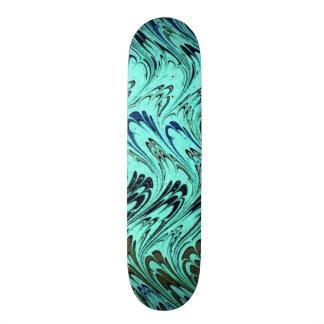 Vintage Swirls Teal Blue Green Silver Waves Skate Decks