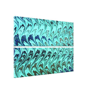 Vintage Swirls Teal Blue Green Silver Waves Stretched Canvas Prints