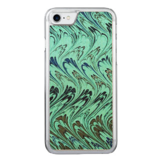 Vintage Swirls Teal Blue Sage Green Waves Carved iPhone 7 Case