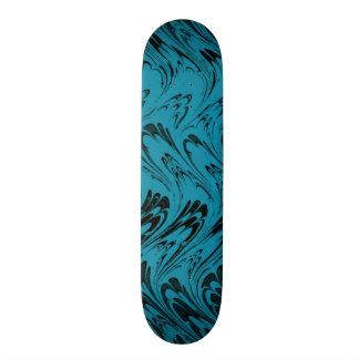 Vintage Swirls Turquoise Teal Black Waves Custom Skateboard
