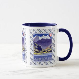 Vintage Swiss design,Luzern Interlaken Brunig Mug