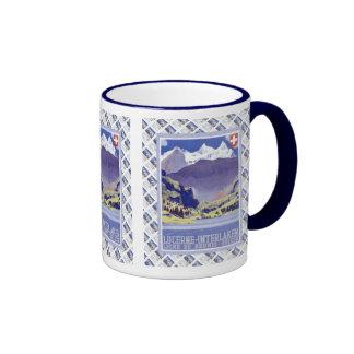 Vintage Swiss design, Luzern Interlaken Brunig Ringer Mug