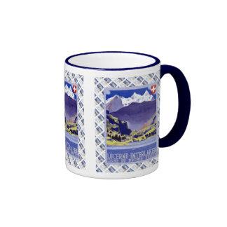 Vintage Swiss design,Luzern Interlaken Brunig Ringer Mug