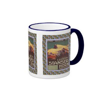 Vintage Swiss design,Luzern Stanzerhorn Ringer Mug