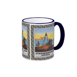 Vintage Swiss design, Stanzerhorn Luzern Ringer Mug