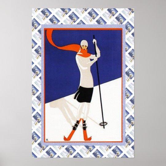 Vintage Swiss Poster Fashion on the SKi slopes